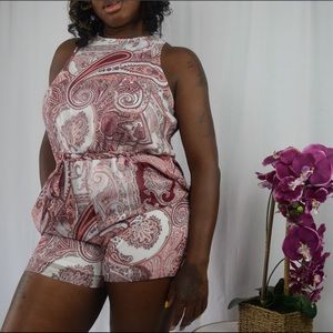 Large NY&C Pink Multicolor Romper Shorts